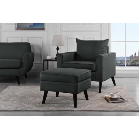 Contemporary Accent Chair and Ottoman with Hidden Storage Set, Linen Upholstered, Light Gray ()
