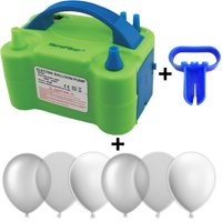 Electric Balloon Pump w/Tying Tool and 90 Balloons, 12 inch, 3 Colors - 30 Metallic Silver, 30 Clear, and 30 White. Lightweight Inflator has Two Nozzles to Make Blowing Quick and Easy