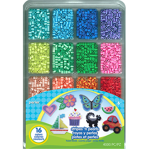Perler Fused Bead Tray 4000-Pack, Stripes 'N Pearls