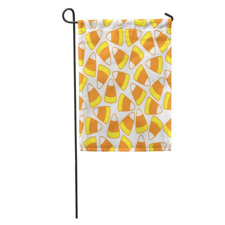 Halloween Desserts Cute (LADDKE Orange Halloween Candy Corn Pattern Yellow Autumn Color Cute Dessert Garden Flag Decorative Flag House Banner 12x18)