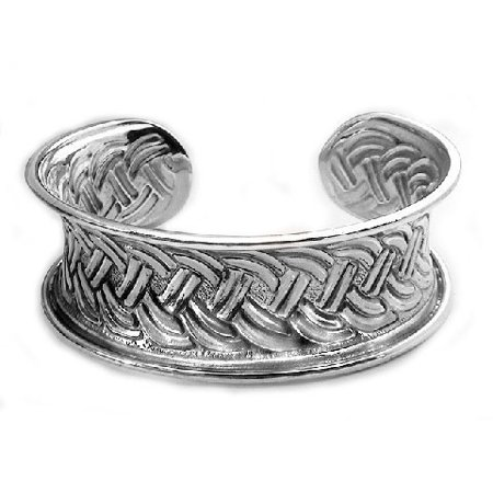 Wide Sterling Silver Braided Celtic Knot Cuff Bracelet