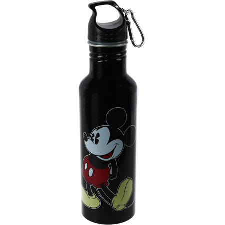 Size one size Disney Mickey Mouse Aluminum Water Bottle with Carabiner Hook, Black