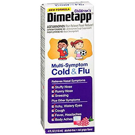 Childrens Multi Symptom Cold Flu Liquid Red Grape Flavor   4 Oz  Temporarily Relieves These Symptoms Associated With A Cold  Or Flu  Headache  Sore    By Dimetapp