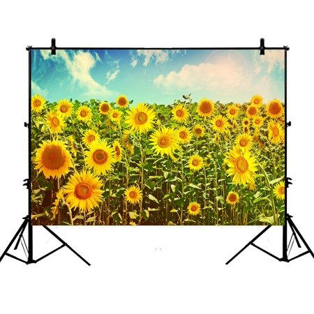 PHFZK 7x5ft Beautiful Sky Cloud Backdrops, Nature Art Sunflowers field in Summer Landscape Photography Backdrops Polyester Photo Background Studio Props ()
