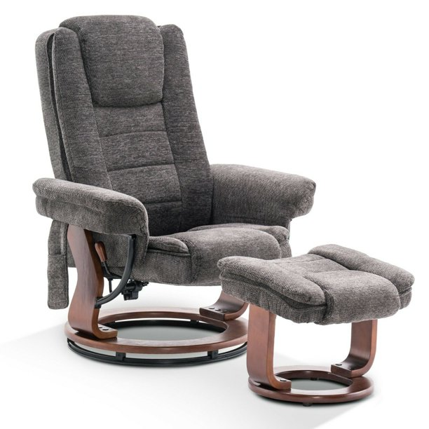 mcombo recliner chair with ottoman fabric accent chair