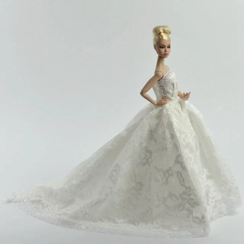 White Fashion Gorgeous Wedding Bridal Gown Dress with Veil For Doll Gift - image 2 of 4