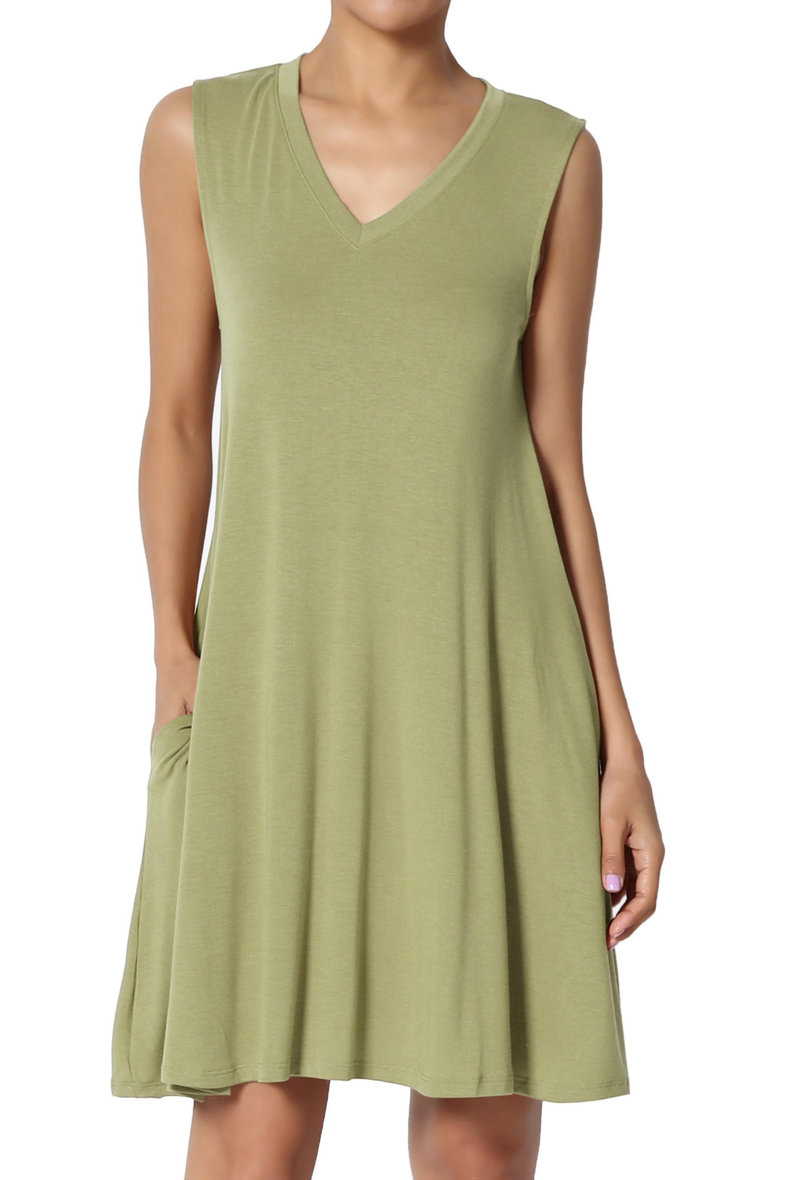 TheMogan Women's S~3X Sleeveless V-Neck Pocket Swing Flared Long Tank Top Mini Dress
