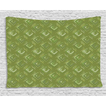 Olive Green Tapestry, Grunge Geometric Pattern Square Shape Diagonal Abstract Rhombus, Wall Hanging for Bedroom Living Room Dorm Decor, 60W X 40L Inches, Olive Green Yellow Coconut, by Ambesonne 43 Geometric Shapes