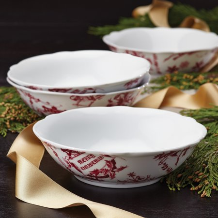 BonJour Dinnerware Yuletide Garland 4-Piece Porcelain Stoneware Fluted Cereal Bowl Set, Print - 54274