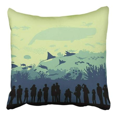 CMFUN Sea Underwater World Aquarium Under Reef Animal Silhouette Shark Depth Fish Pillowcase Cushion Cover 18x18 inch ()