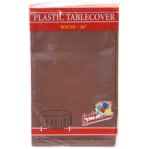 "Brown  84"" Round Plastic Disposable Party  Tablelcoth"