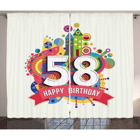 58th Birthday Decorations Curtains 2 Panels Set, Abstract Style Geometric Circles Triangles Birth Wishes Pattern, Window Drapes for Living Room Bedroom, 108W X 90L Inches, Multicolor, by Ambesonne ()