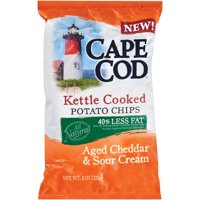 Cape Cod 40% Less Fat Kettle Cooked Aged Cheddar & Sour Cream Potato Chips, 8 Oz.