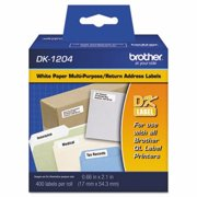 "2PK-Brother Die-Cut Multipurpose Labels, .66"" x 2.1"", White, 400/Roll"