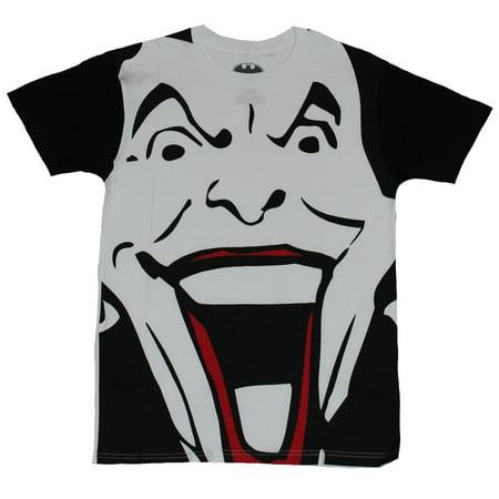 Batman (DC Comics) Mens T-Shirt - Giant Black and White Joker Face Image