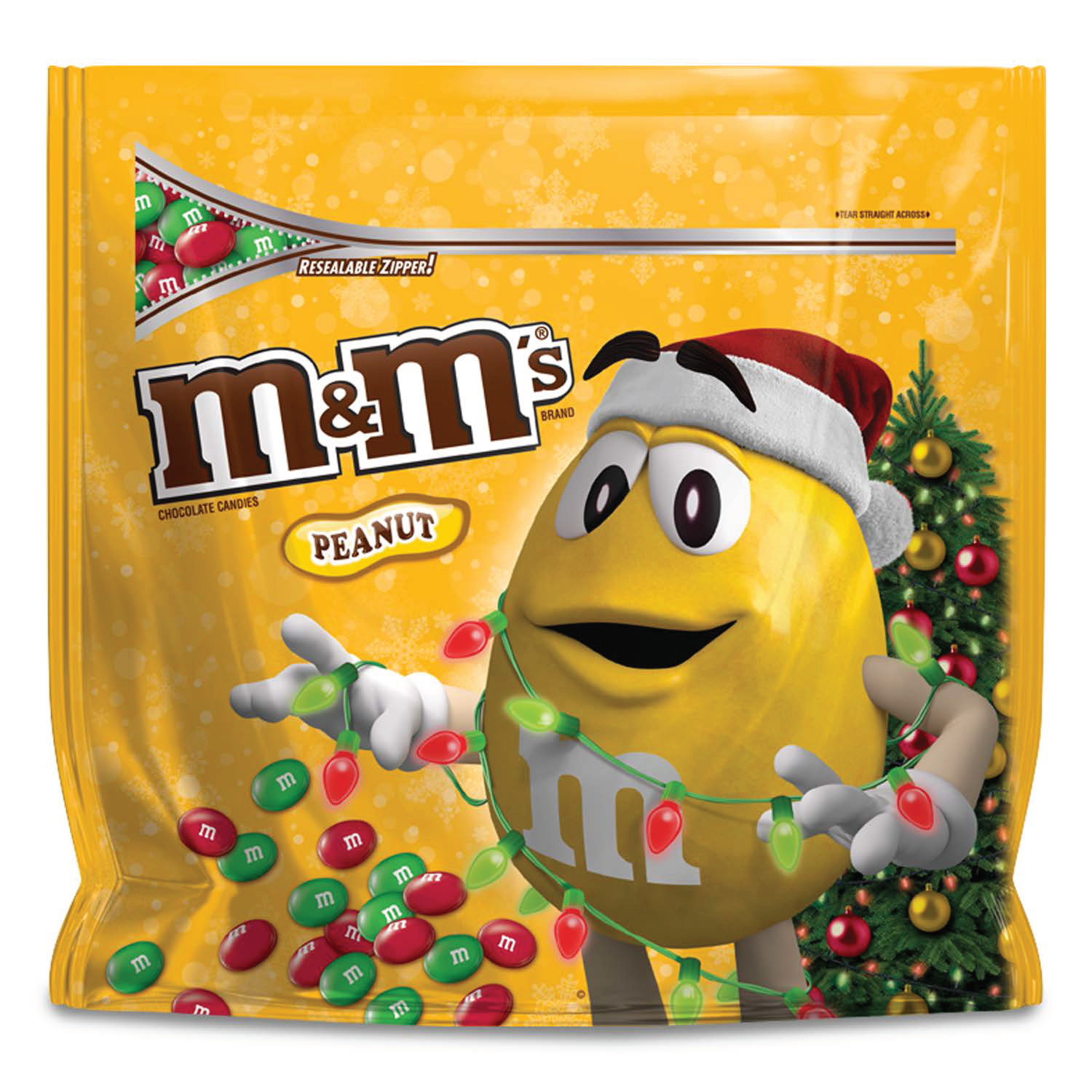 M&M's, Holiday Peanut Chocolate Christmas Candy Party Size, 42 Oz