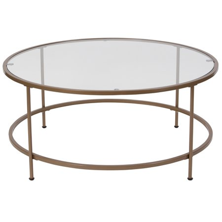 Flash Furniture Astoria Collection Glass Coffee Table with Matte Gold Frame ()