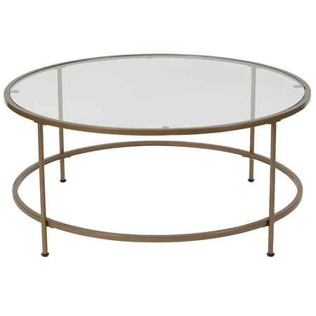 Bent Glass Coffee Table - Flash Furniture Astoria Collection Glass Coffee Table with Matte Gold Frame
