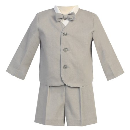 Baby Boys Light Gray Eton Short Formal Ring Bearer Suit 6-12M - Ring Bearer Gray Suit