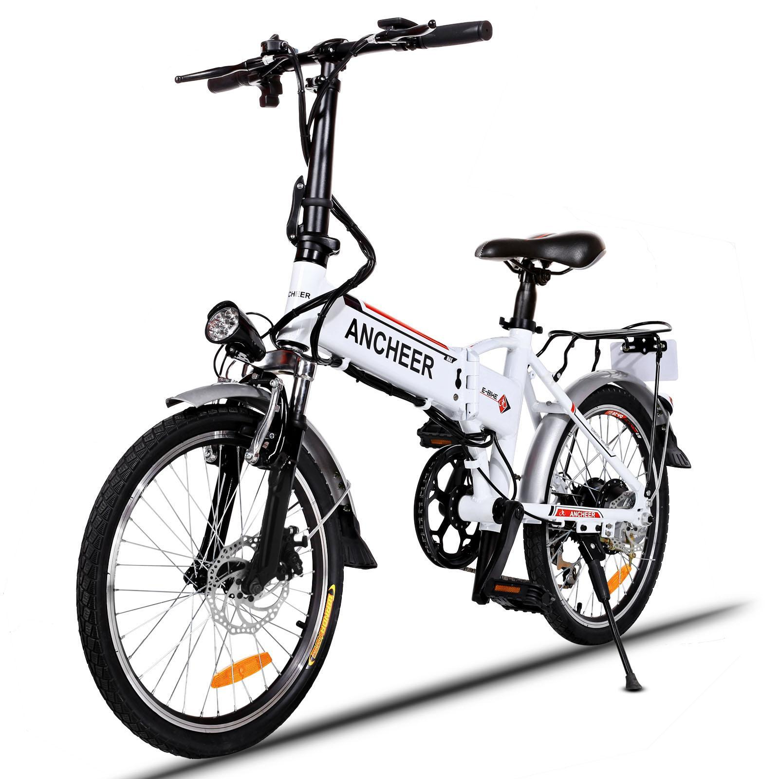 Ancheer E-Bike 18.7'' Folding Adjustable Electric Bike Power Plus Bicycle with Detachable Lithium Battery