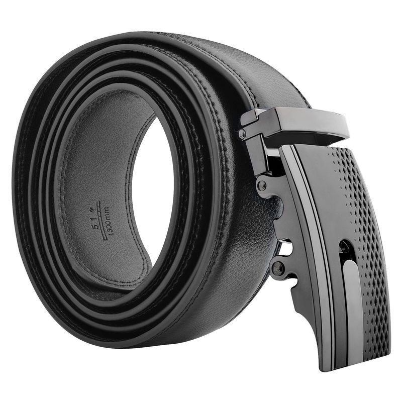 "Zodaca Genuine Leather Mens Automatic Buckle Belt (with Gift Box) Sleek Design Stylish Black Carbon Fiber 43.3"" x 1.4"""