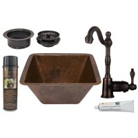 Premier Copper Products - BSP4_BS15DB3-G Bar/Prep Sink, Faucet and Accessories Package