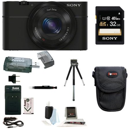 Sony RX100 Digital Camera w/ Point & Shoot Digital Camera Acc Bundle (Black)
