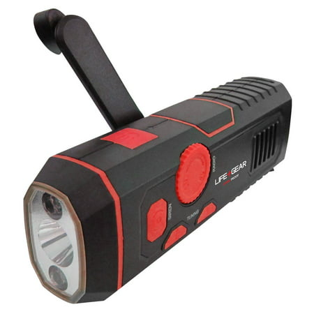 Life+Gear USB Rechargeable or Crank Flashlight with FM Radio & Siren ()