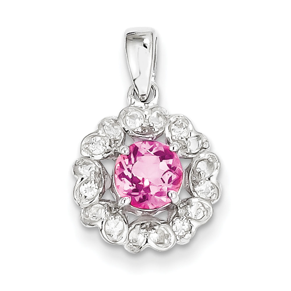 Sterling Silver Rhodium Plated White Topaz Pink Tourmaline Pendant .94 cwt by