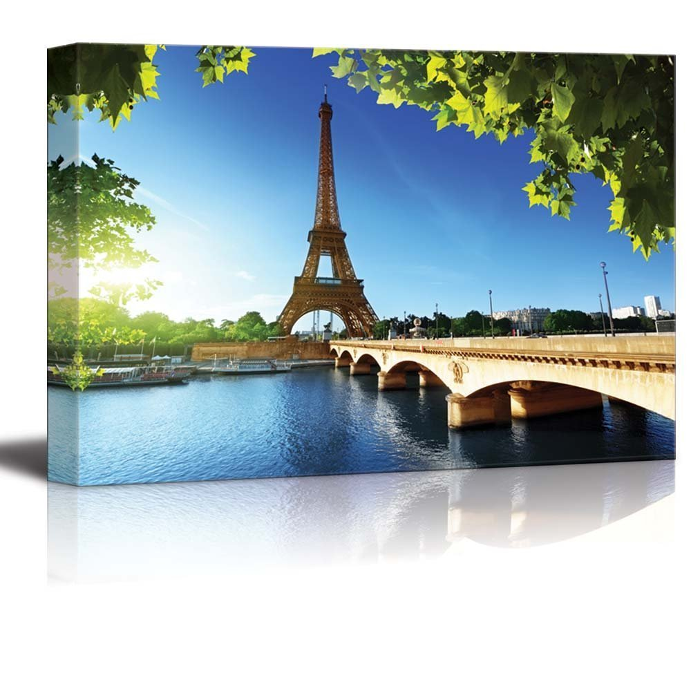"Canvas Prints Wall Art - Eiffel Tower under Blue Sky, Paris France | Modern Home Deoration/Wall Decor Giclee Printing Wrapped Canvas Art Ready to Hang - 24"" x 36"""
