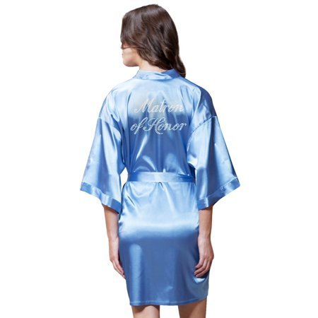 Turquaz Linen Satin Kimono Rhinestone Matron of Honor Robe (Small/Medium, Airy Blue)](Maid Of Honor Robe)