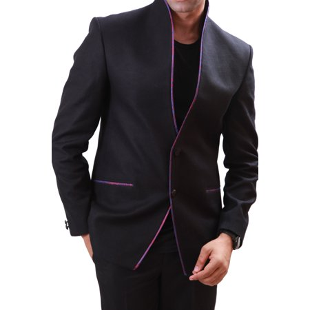 High Neck Classy Black Blazer for Men. This product is custom made to order. - image 1 de 3