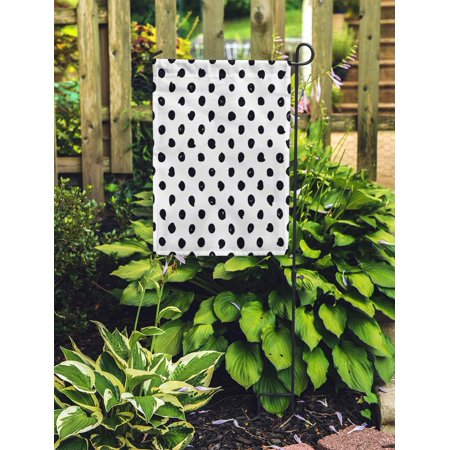 NUDECOR Polka Dot Black and White Hipster Tiles Pattern Abstract Scribble Garden Flag Decorative Flag House Banner 28x40 inch - image 2 of 2