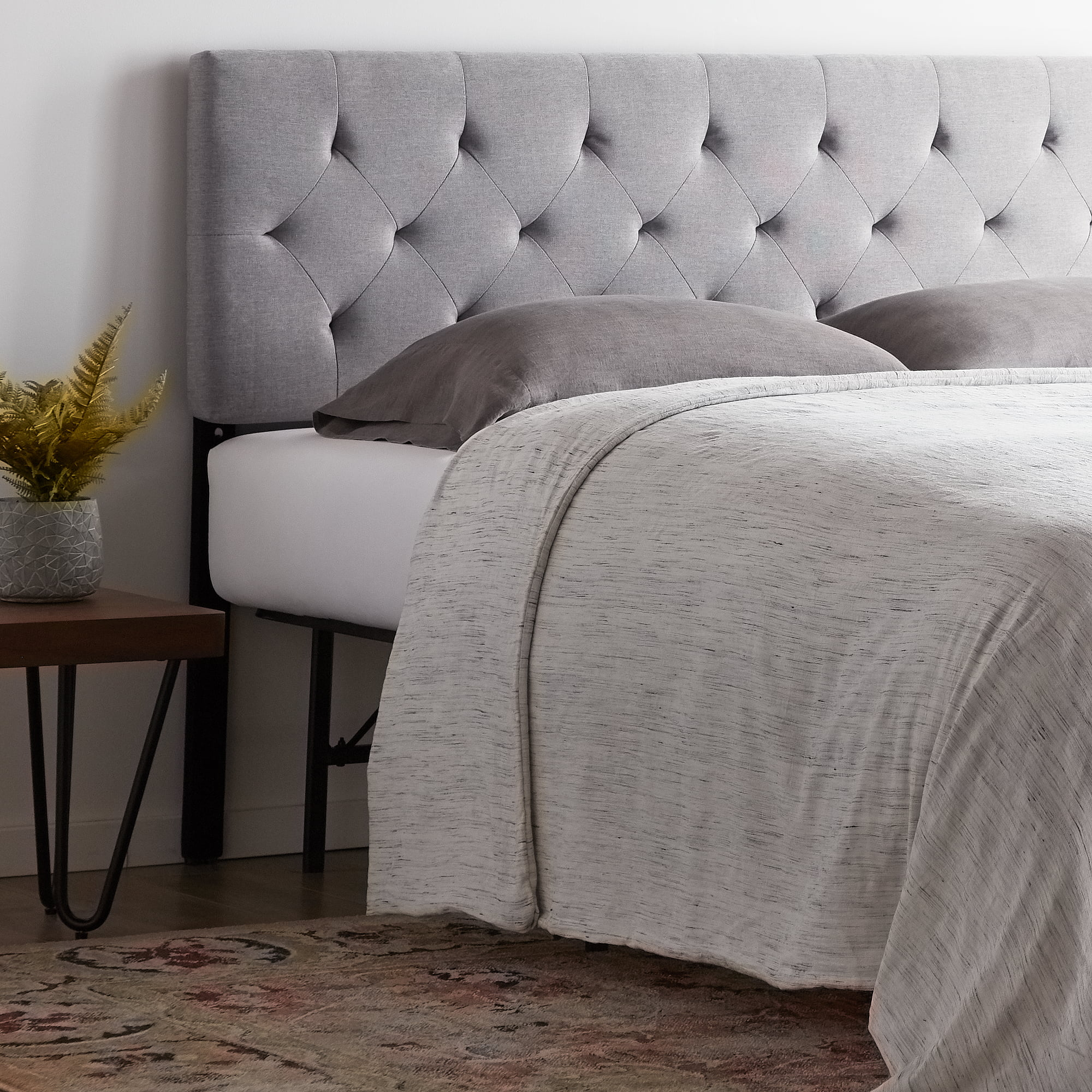 Rest Haven Upholstered Diamond Tufted Mid Rise Headboard King Cal King Gray Walmart Com Walmart Com