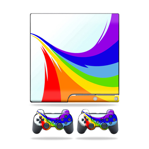 Skin Decal for Sony Playstation 3 PS3 Slim + 2 controllers sticker Rainbow Flood