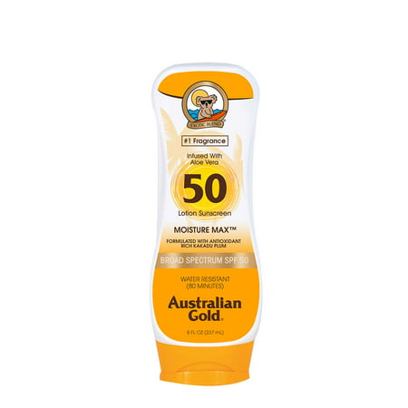 Australian Gold SPF 50 Lotion Sunscreen, Water Resistant, 8 FL (Australian Gold Botanical Tinted Sunscreen Spf 50 Canada)