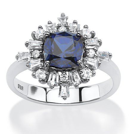 Platinum Vintage Ring - 2.87 TCW Created Blue Sapphire Vintage-Style Ring in Platinum over .925 Sterling Silver