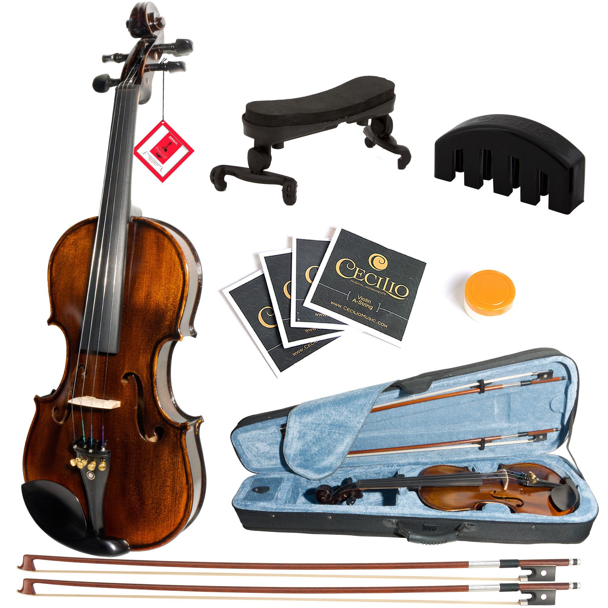 Mendini by Cecilio Size 1 2 MV500 Flamed Solid Wood 1-Piece Back Violin with D'Addario... by Cecilio Musical Instruments