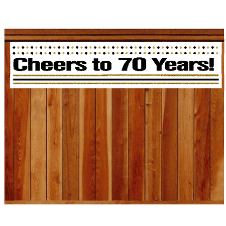 Item#070CIB 70th Birthday / Anniversary Cheers Wall Decoration Indoor / OutDoor Party Banner (10 x 50inches) - Cheers Banner