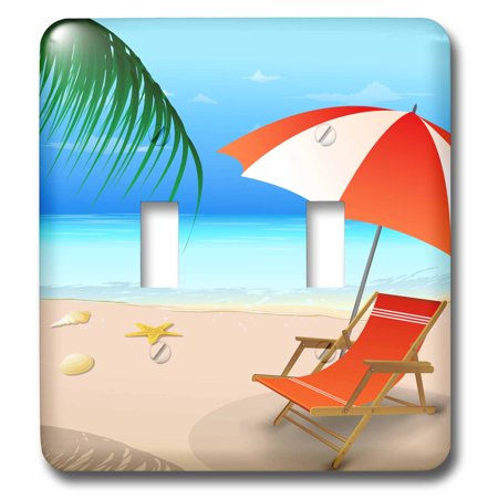 3dRose Blue and Sandy Beach Scene With Beach Lounger and Umbrella In Orange and White - Double Toggle Switch