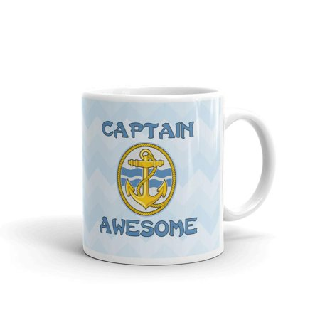 Captain Awesome Boating Anchor Coffee Tea Ceramic Mug Office Work Cup Gift 11 oz - Anchor Gifts