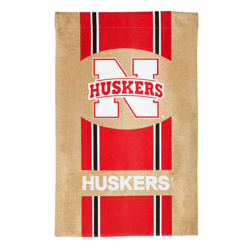 Nebraska Cornhuskers Official NCAA 29 inch x 43 inch  Team Burlap House Flag by Evergreen