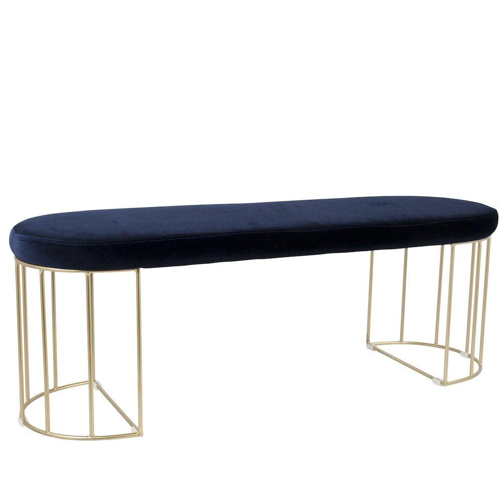 Canary Contemporary Dining Entryway Bench in Gold and Blue Velvet by Lumisource by