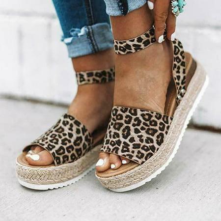 Women's Summer Ankle Strap Shoe Leopard Flat Heels Platform Wedge Sandals Size 4-7 ()