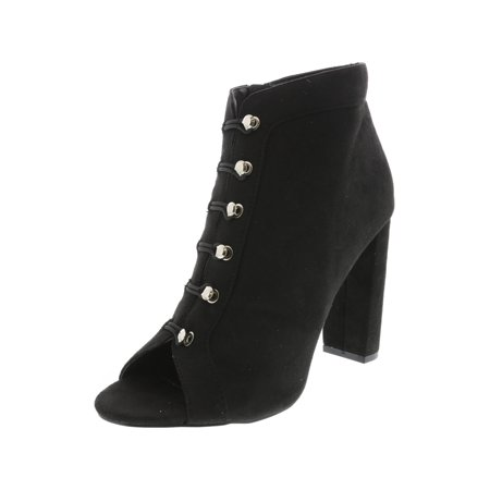 Michael Antonio Women's Carell Black Ankle-High Suede Pump - 8.5M