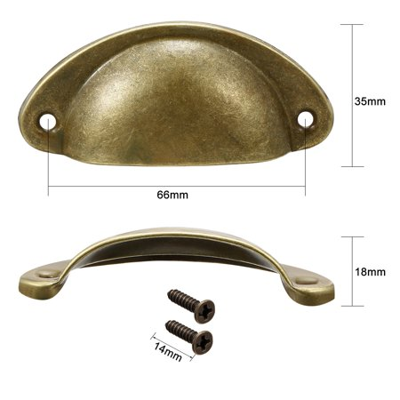 Cup Drawer Pull Kitchen Cabinet Handle Bronze Tone, 66mm Hole Centers, 8pcs - image 1 of 4