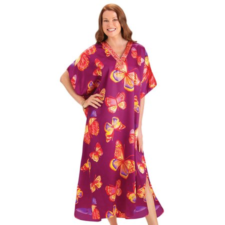 Women's Magenta All-Over Butterfly Print V-Neck Caftan Lounger Dress - Comfortable Summer Outfit, Onesize, Magenta Butterfly Print V-neck Dress