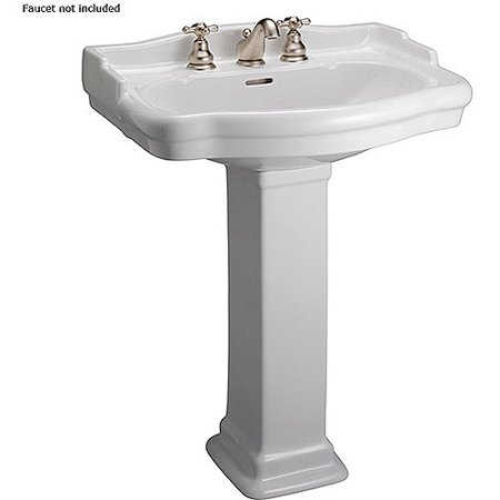 Barclay Stanford 550 Vitreous China Rectangular Pedestal Bathroom Sink With Overflow