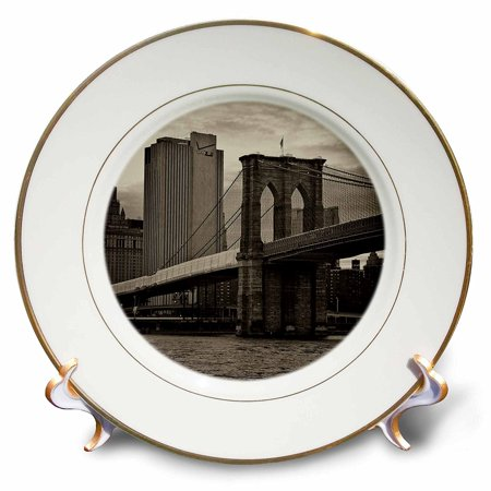3dRose Brooklyn Bridge, East River, part of NYC skyline in Sepia, Porcelain Plate, 8-inch