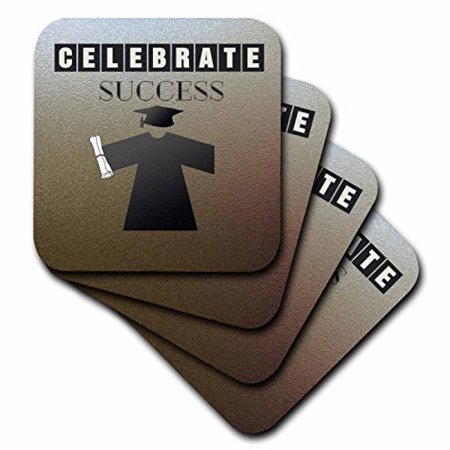 3dRose Celebrate Success, Graduation Cap, Gown, and Diploma, Black and Brown, Ceramic Tile Coasters, set of 4 - Cap And Gowns For Sale
